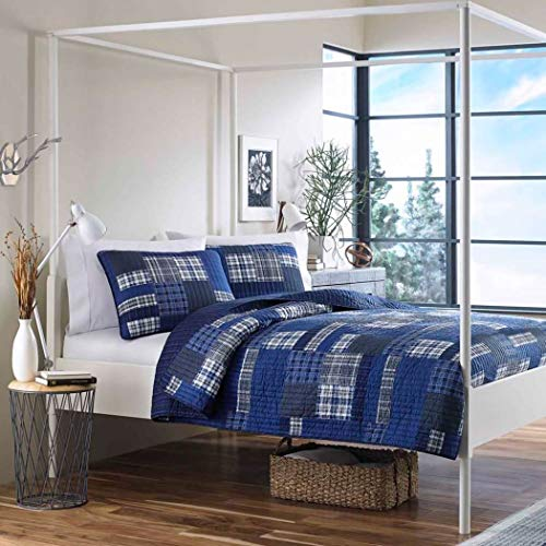- 3 Piece Blue Plaid Full Queen Quilt Set, White Cabin Cottage Lodge Country Theme Bedding, Striped Checkered Pattern Patchwork Lumberjack Rugby Horizontal Vertical Stripes Tartan Madras, Polyester