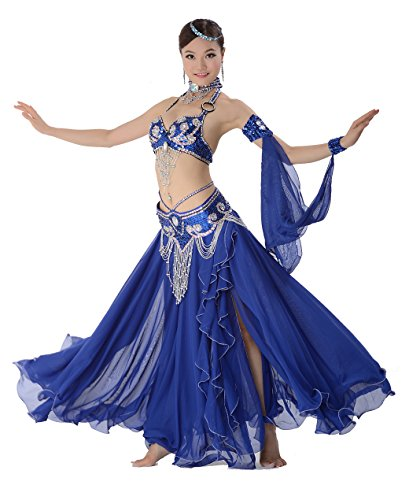 [GUILTY BEAUTY Belly Dance Costume Outfit Bra Belt Skirt 3pcs Set with Beads Sequins] (Belly Dance Costumes Bra)
