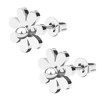618438cd8fce FENICAL Pendientes de botón de Flor de Acero Inoxidable para Mujer  Pendientes de Metal con Forma de Margarita (Plata)  Amazon.es  Hogar
