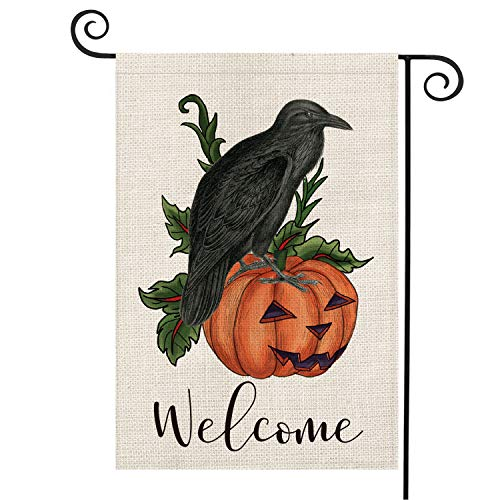 AVOIN Crow Raven Pumpkin Garden Flag Vertical Double Sized Welcome Quote, Fall Halloween Nevermore Jack O'Lantern Burlap Yard Outdoor Decoration 12.5 x 18 ()