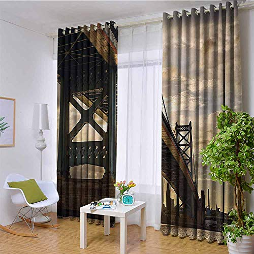 Apartment Decor Collection 100% blackout lining curtain Ben Franklin Bridge Business District Waterscape Sun Setting Evening Scene View Full shading treatment kitchen insulation curtain W120 x L108 I