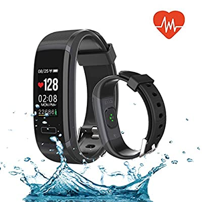 QIANXIANG Fitness Tracker,Activity Tracker with Heart Rate/Sleep Monitor, Waterproof and dustproof Bluetooth Smart Watch/Wristband/Bracelet with Calorie/Step Counter for Android & iOS Phones.(Black)