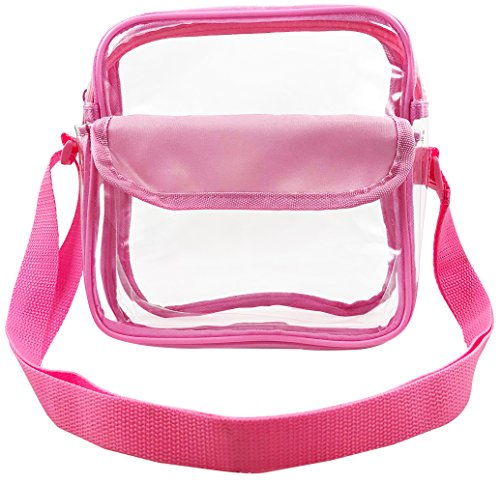 Clear Sport - Sports Stadium Approved Clear Messenger Bag Clear Shoulder Bag Transparent Purse with Adjustable Strap (Pink)