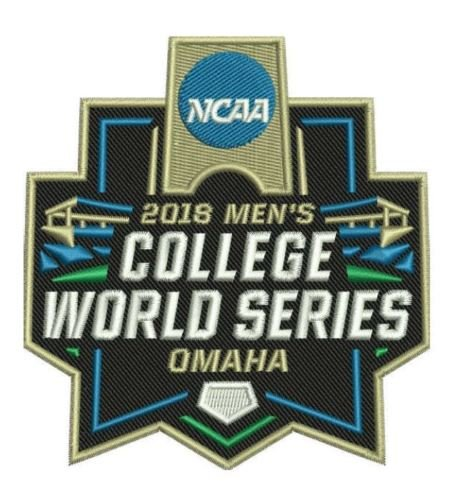 Baseball 2018 COLLEGE WORLD SERIES PATCH OMAHA FULL COLOR EMBROIDERED PATCH
