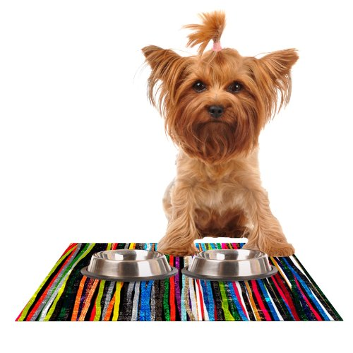 KESS InHouse Frederic Levy-Hadida Fancy Stripes Dark Feeding Mat for Pet Bowl, 24 by 15-Inch