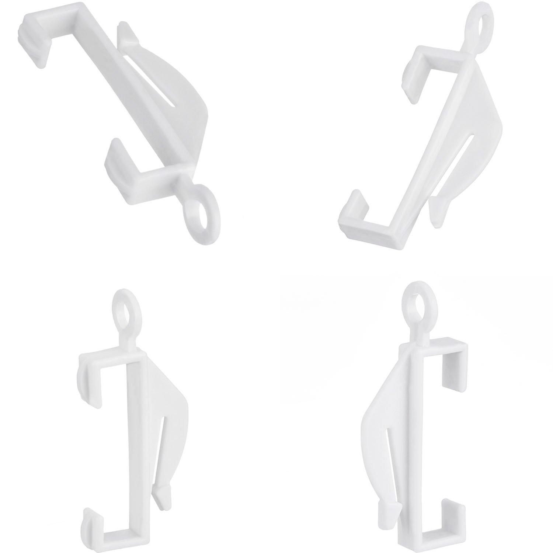 50 Pack White Plastic Curtain Rail Sliding Hooks Pangda