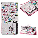 Cistor Strap Flip Case for Samsung Galaxy S8,Stylish 3D Art Painted Stand Wallet Case for Samsung Galaxy S8,Shockproof Slim Fit PU Leather Case with Card Slot Magnetic Closure Ring Holder,Flower Tree Girl