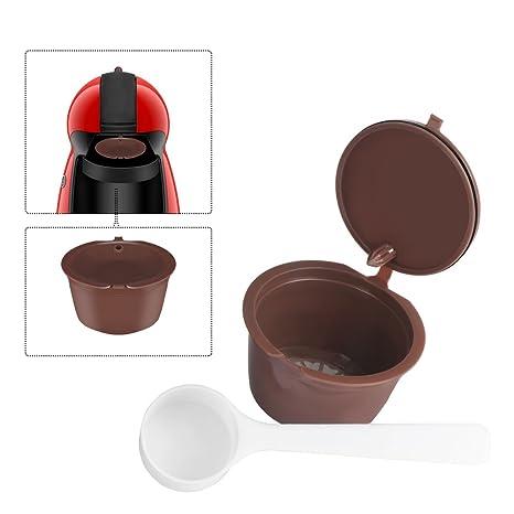 Konesky Cápsula Reutilizable Recargable del café Cápsulas de Dolce Gusto para Nescafe Genio Piccolo Esperta Circolo (Contiene la Cuchara del café)