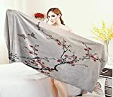 Anniutwo Nature,Bath Towel,Cherry Branches Flowers Buds Birds Asian Style Artwork Painting Effect,Bathroom Towels,Black Burgundy Size: W 31.5'' x L 63''