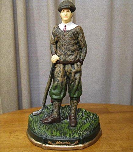 Large Cast Iron Classic Golfer Man Golfing Art Statue Golf Club Trophy Figurine