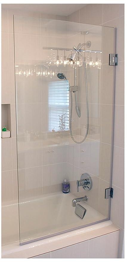 Ark Showers Frameless Bathtub Shower Screen, Pivot Door, 60 X 33.5, 5/