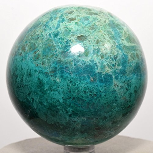 2.8'' Chrysocolla Sphere Blue Natural Crystal Polished Ball Chalcedony Sparkling Mineral Gemstone - Peru + Plastic Stand by HQRP-Crystal