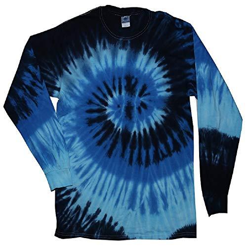 (Tie Dye Style Long Sleeve T-Shirt, Blue Ocean, Small)