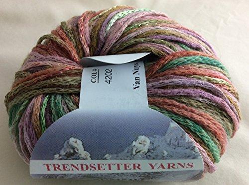 Trend Wool Yarn (Trendsetter Summit #4202 Greens, Lilac, Pinks, Browns Wool Blend Yarn 50 Gram)
