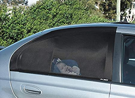 Back Seat See Through Stretchy Mesh Sock Style Sun Shades Sunshade Fits All Sedan Cars Medium, Black 2-Pck They Totally Cover The Windows For Full Protection Car Window Shade Protection for Baby