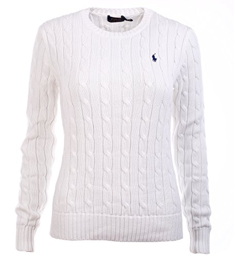 Ralph Lauren Women's Crewneck Cable Knit Pony Logo Sweater (S, (Pony Logo Sweater)