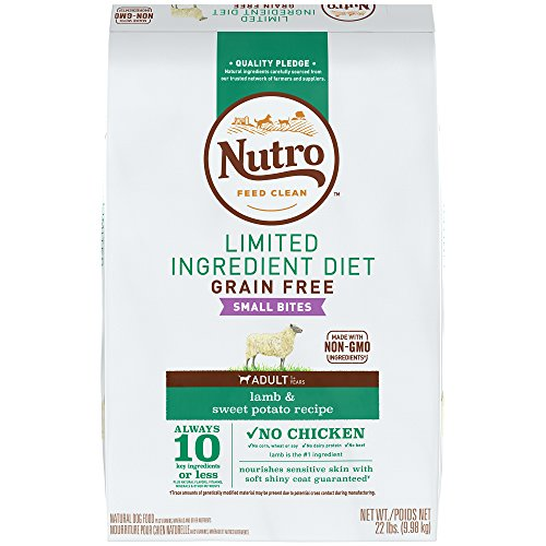 NUTRO Limited Ingredient Diet Small Bites Adult Lamb & Sweet Potato Recipe Grain Free Dog Food  (1) 22-lb. , 10 Key Ingredients or Less Plus Natural Flavors, Vitamins, Minerals and Other Nutrients