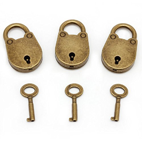 Antique Style Metal Lock - SCASTOE Old Vintage Antique Style Mini Archaize Padlocks Key Lock With key (Lot Of 3)