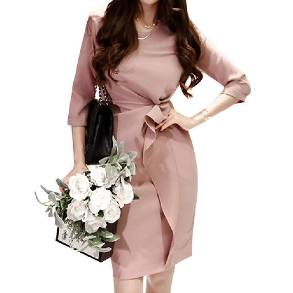 ZENWEN Women's New Slim Dress Pink Lotus Leaf Ladies Light Luxury Ol Commuter Pencil Skirt