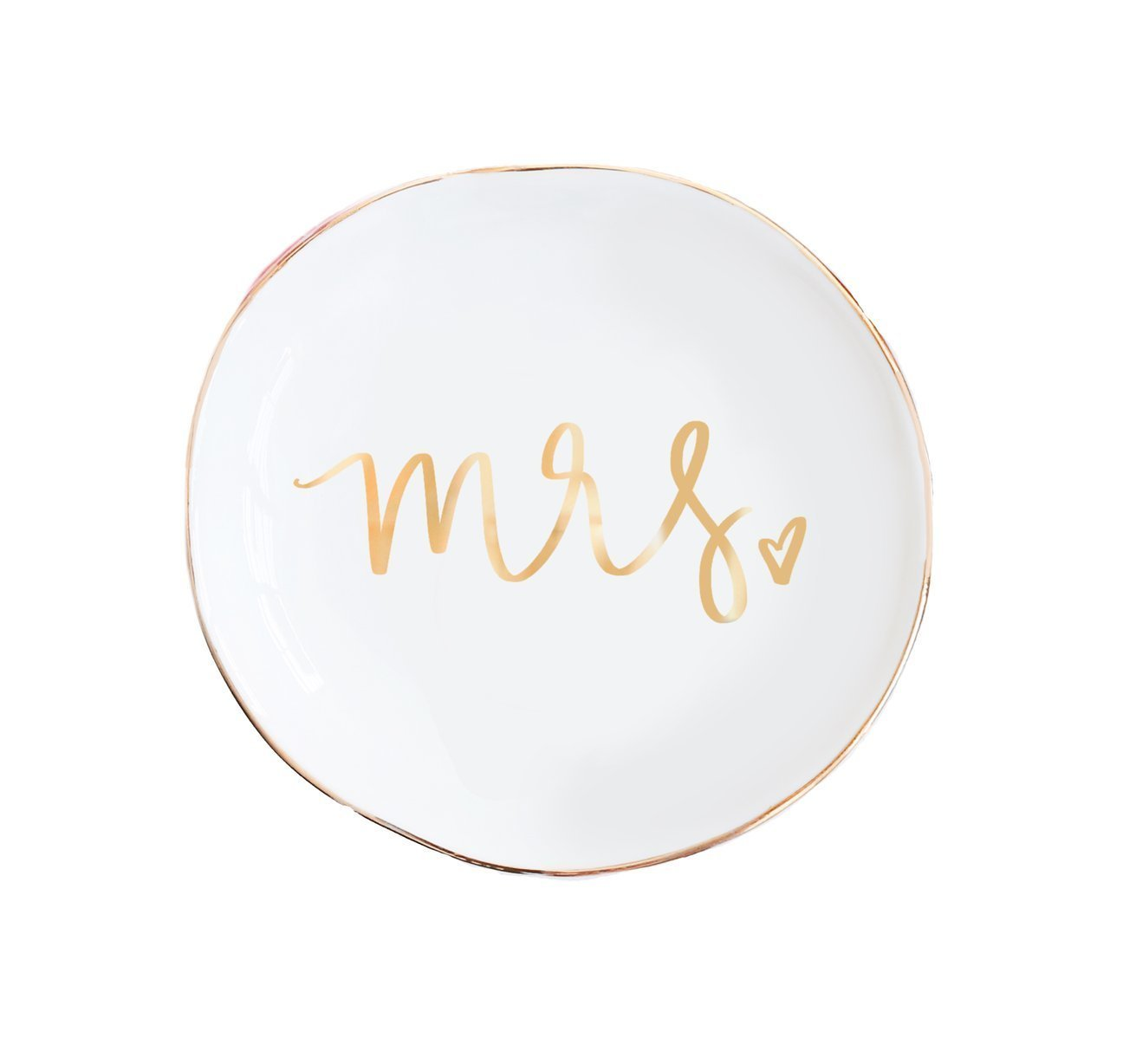 Mrs Jewelry Dish | Small Gold Ceramic Ring Trinket Tray Wedding Gift for Bride Wifey Desk Storage Accessories Miss Office Decor Hand Lettered