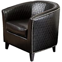 Best Selling Mia Black Leather Quilted Club Chair