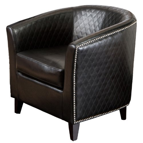 Best-selling Mia Black Leather Quilted Club Chair