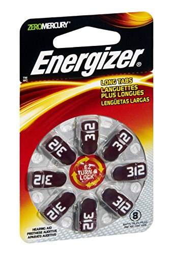 Energizer Batteries AZ312DP EZ Turn and Lock Hearing Aid, Size 312, 8 Count ()