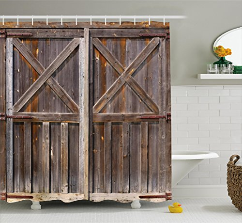 Rustic Shower Curtain by Ambesonne, Old Wooden Barn Door of Farmhouse Oak Countryside Village Board Rural Life Photo Print, Fabric Bathroom Decor Set with Hooks, 75 Inches Long, Brown (Country Bathroom Decor Sets)