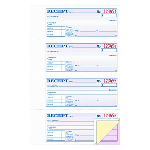 "Wholesale Adams Money and Rent Receipt Book, 3-Part, Carbonless, White/Canary/Pink,7 5/8"" x 10 7/8"", 100 Sets per Book (TC1182)"