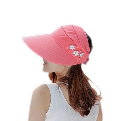 Doitsa Gorra Mujer Verano Visera Cap Sombrero de Sol Plegable Voyager en  Plein Air Gorra decoración ea76d3cd0fe