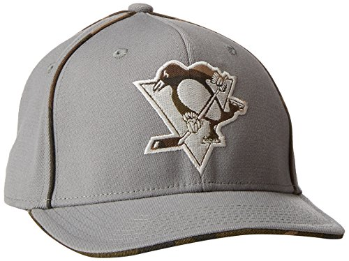 Reebok Penguins (Reebok NHL Pittsburgh Penguins Men's SP17 Gray Camo Structured Flex Cap, Gray, Small/Medium)