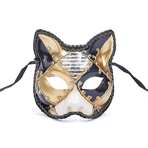 遺伝子コーンウォール思われるダンスマスク 大きな猫アンティーク動物レトロコスプレハロウィーン仮装マスクナイトクラブマスク雰囲気フェスティバルマスク ホリデーパーティー用品 (色 : 黄, サイズ : 17.5x16cm)