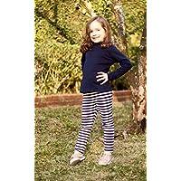 Calça Leggings Infantil Listrado Azul e Branco