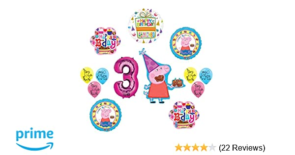 Amazon Peppa Pig Pink 3rd Birthday Party Balloon Supplies And Decorations Kit Toys Games