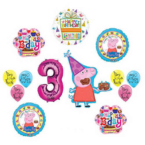 Peppa Pig Pink 3rd Birthday Party Balloon supplies and decorations kit -