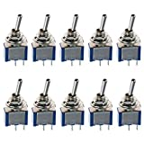 E Support™ On/Off Mini Miniature Toggle Switch Car Dash Dashboard SPST 2Pin Blue Pack of 10