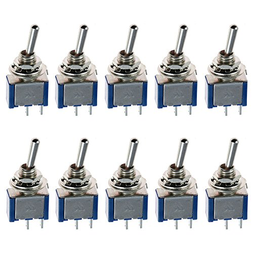 ESUPPORT On/Off Mini Miniature Toggle Switch Car Dash Dashboard SPST 2Pin Blue Pack of 10 ()