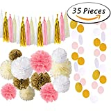 Paxcoo 35 Pcs Pink and Gold Party Supplies with Tissue Pom Tassel Garland for 1st Birthday baby Girl shower Decorations