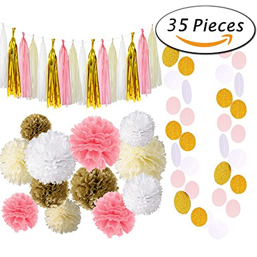 Paxcoo 35 Pcs Pink Gold Cream Tissue Pom Poms Paper Flowers Tissue Tassel Polka Dot Garland for 1st Birthday baby shower Decorations