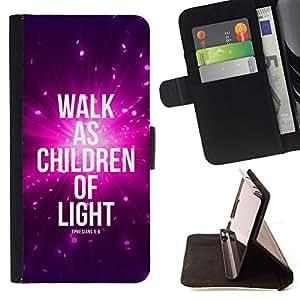 BullDog Case - FOR/LG OPTIMUS L90 / - / WALK AS CHILDREN OF LIGHT - EPHENSIANS 5:8 /- Monedero de cuero de la PU Llevar cubierta de la caja con el ID Credit Card Slots Flip funda de cuer