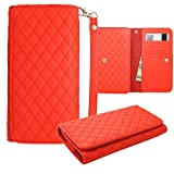 vision 3 lte Leather Pouch, HJ Power[TM] For Huawei vision 3 lte (Unlocked)~ CH5 Smart Phone Universal PU Leather Checker Style Wallet Pouch Red
