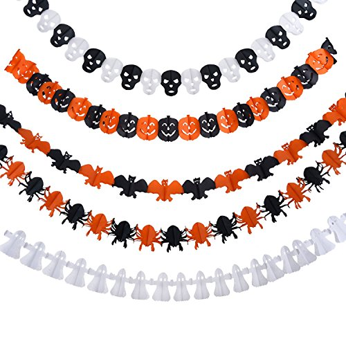 Frienda 5 Set Halloween Paper Garlands Decoration Prop Pumpkin Spider Bat Ghost Skull (Skull Shapes)