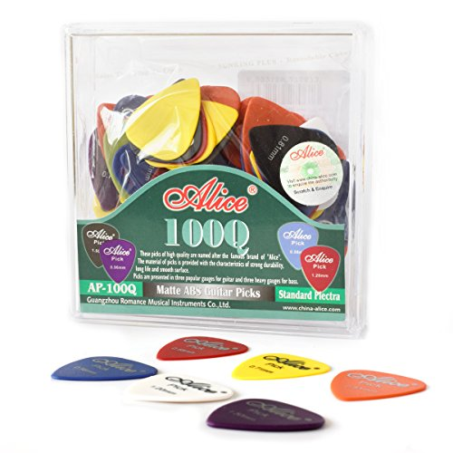 100 Pcs Guitar Picks /Plectrum Various Colors 6 Gauges 0.58/0.71/0.81/0.96/1.20/1.50mm for Acoustic and Electric Guitars (Packing Box Included)