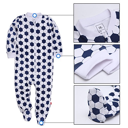 HongLin Footed Pajama Baby Boys Girls Sleeper Long Sleeve 100% Cotton Zip Front Neutral (12-18(Month), Football)