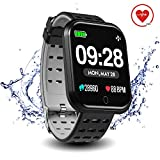 Surpro Smart Watch Heart Rate Monitor, 1.3' Bright Color Screen Waterproof Pedometer Wrist Watch, Bluetooth Running GPS Fitness Tracker Watch for Android & iOS Phones, Grey