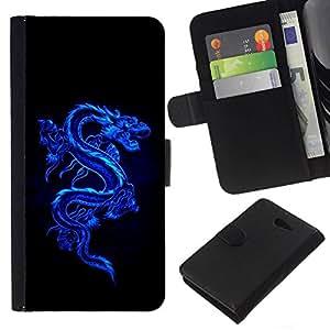 All Phone Most Case / Oferta Especial Cáscara Funda de cuero Monedero Cubierta de proteccion Caso / Wallet Case for Sony Xperia M2 // Blue Tribal Dragon