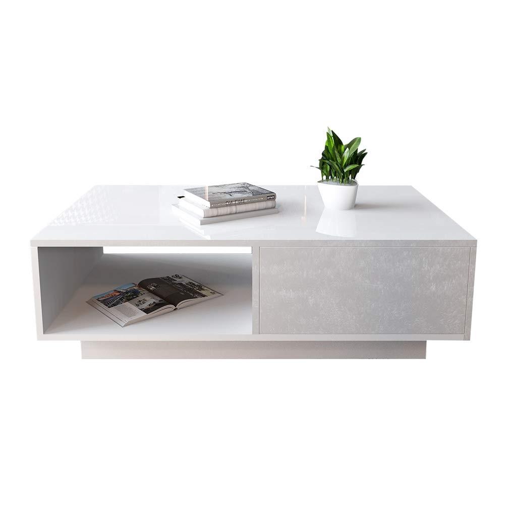Rettangolare Lucido Bianco in Legno GOTOTO Tavolino da Salotto Moderno Tavolino da caff/è con Cassettiera 95 x 55 x 31cm