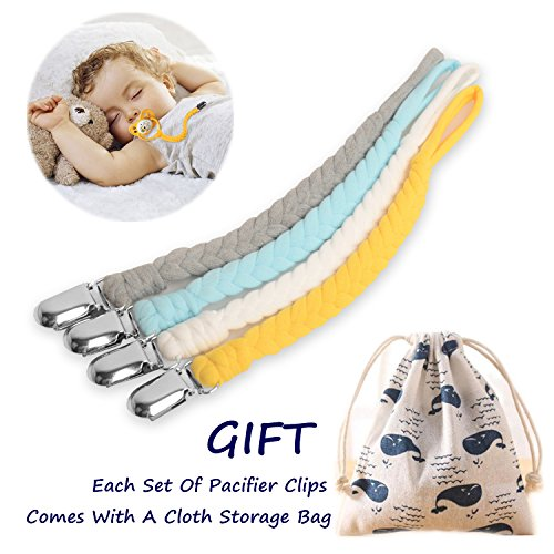 Pacifier Clips Set by MUKIN-Teething Ring Holders for Baby,Universal Flexible Holder Leash for Pacifiers, Teething Toy or Soothie.Baby Shower Gift Set.(Pack of 4)+Free Reusable Bag. (Yellow)