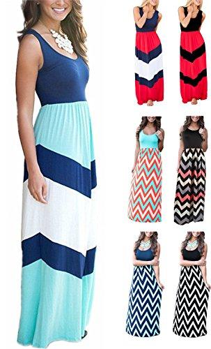 LETSRUNWILD Women's Boho Chevron Striped Print Summer Beach Sleeveless Tank Long Maxi Party Dress Blue Small ()