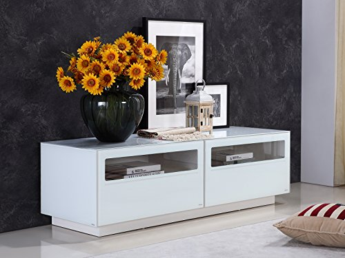 CORTE High Gloss White Lacquer Entertainment Center by Casabianca Home TC-0180-WH - CORTE High Gloss White Lacquer Entertainment Center by Casabianca Home ()